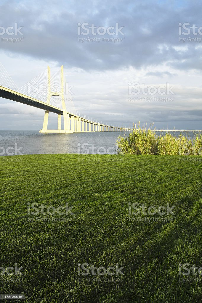 Vasco da Gama Bridge in Lisbon royalty-free stock photo