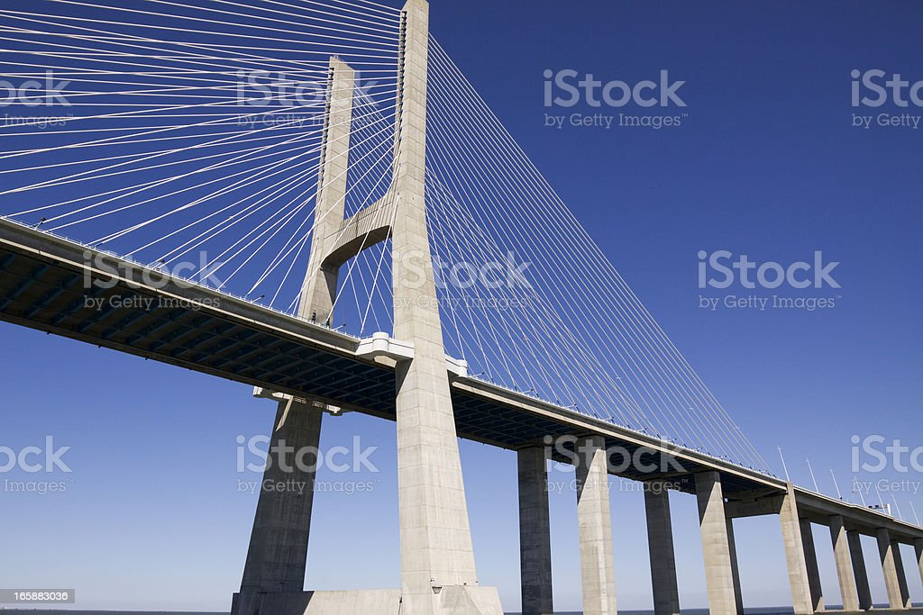 Vasco da Gama contemporary cable-stayed bridge royalty-free stock photo