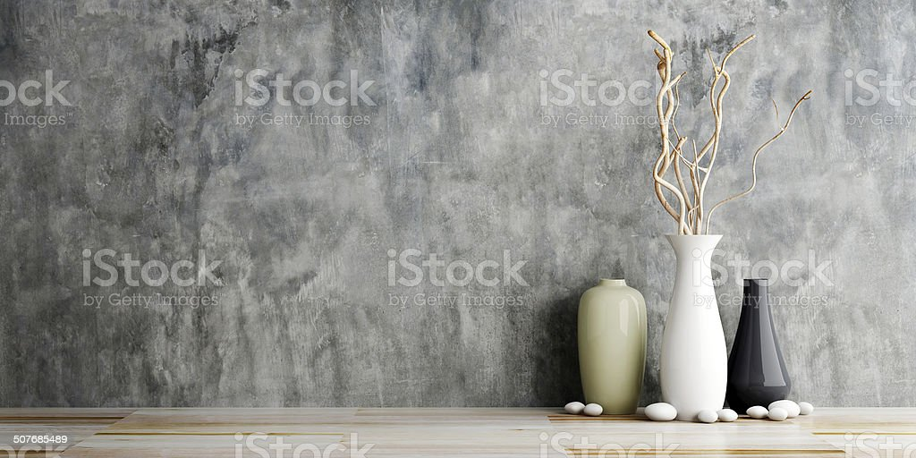 vase ceramics on wooden and concrete wall background stock photo
