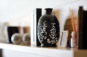 Vase closeup in decorated living room