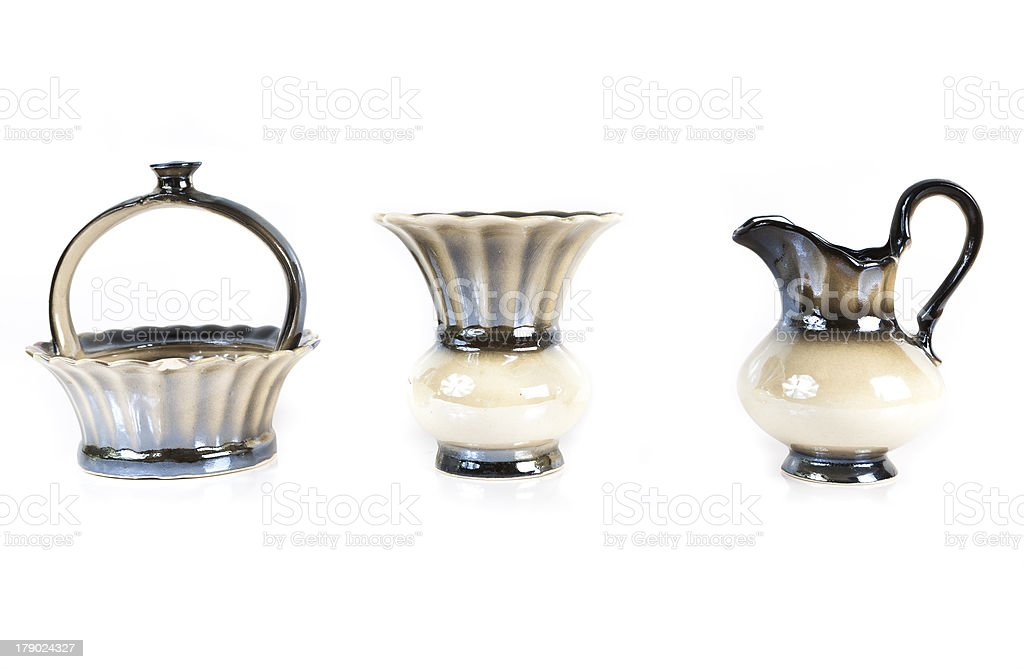 vase, jug and sugar bowl closeup isolated on white background royalty-free stock photo