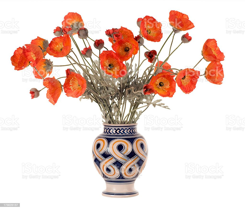 Vase of Artificial California Poppies Isolated on White stock photo