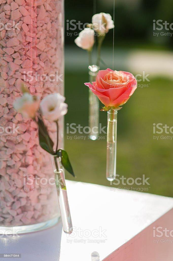 Vase of beakers. wedding decorations stock photo