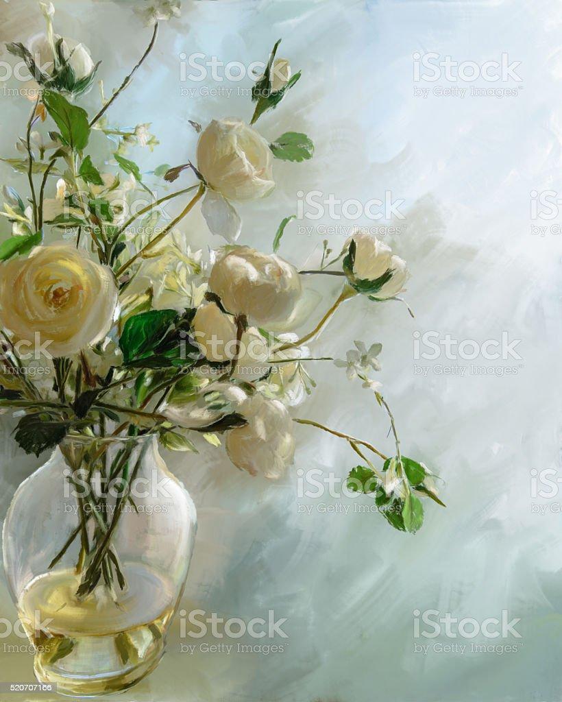 Vase of white flowers on pastel blue stock photo