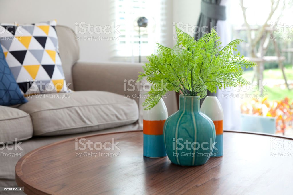 vase on table in livingroom stock photo
