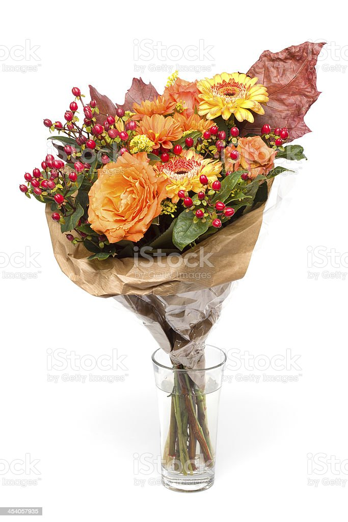 Vase with Autumnal Flower bouquet, Isolated on White royalty-free stock photo
