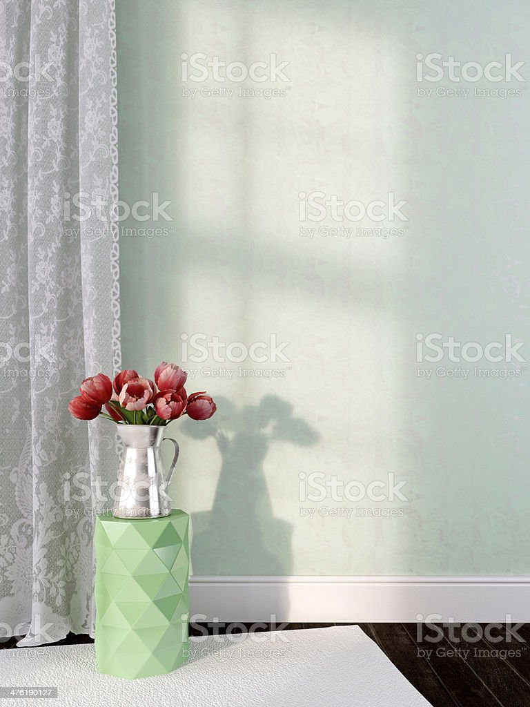 Vase with tulips on the green background stock photo