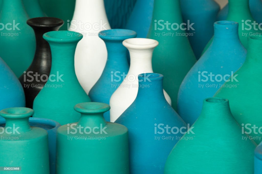 Vases in green, blue, black and white stock photo