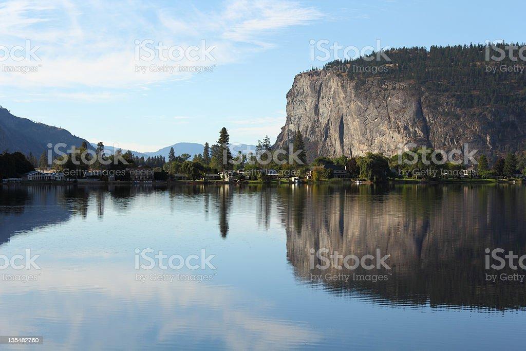 Vaseux Lake and McIntyre Bluffs, Okanagan, British Columbia stock photo