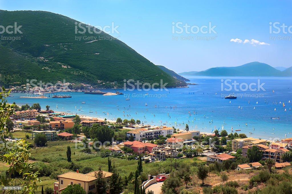 Vasiliki bay, Lefkada island, Greece stock photo