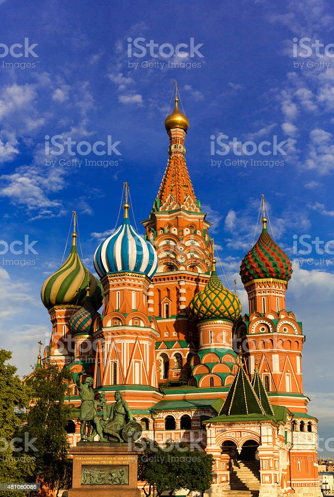 Vasily Blazhennogo's cathedral(St Basil's Cathedral) .Moscow.Russia stock photo