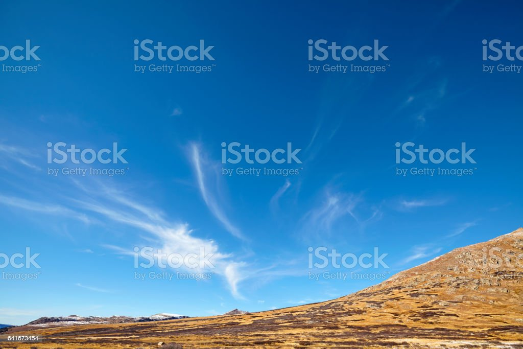 Vast cloudscape over Independence Pass mountains, Colorado, USA stock photo