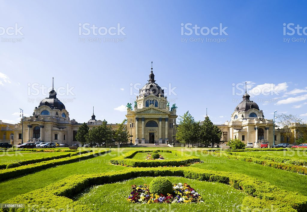 Vast expanse of greenery in a Budapest garden stock photo