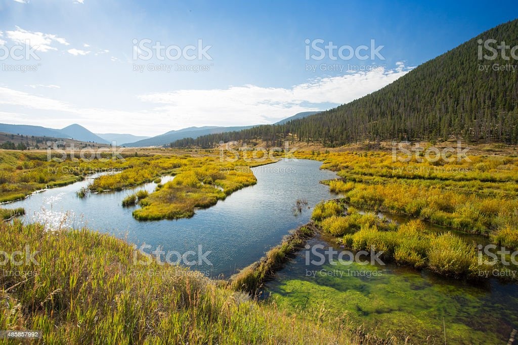 Vast landscape showing fall colors. stock photo