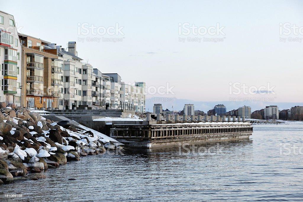 Vastra Hamen shoreline in Winter stock photo