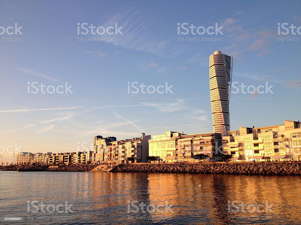 Vastra Hamnen at sunset stock photo