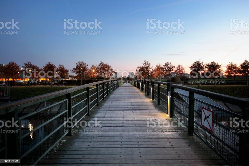 Vastra Hamnen bridge Malmo dusk stock photo