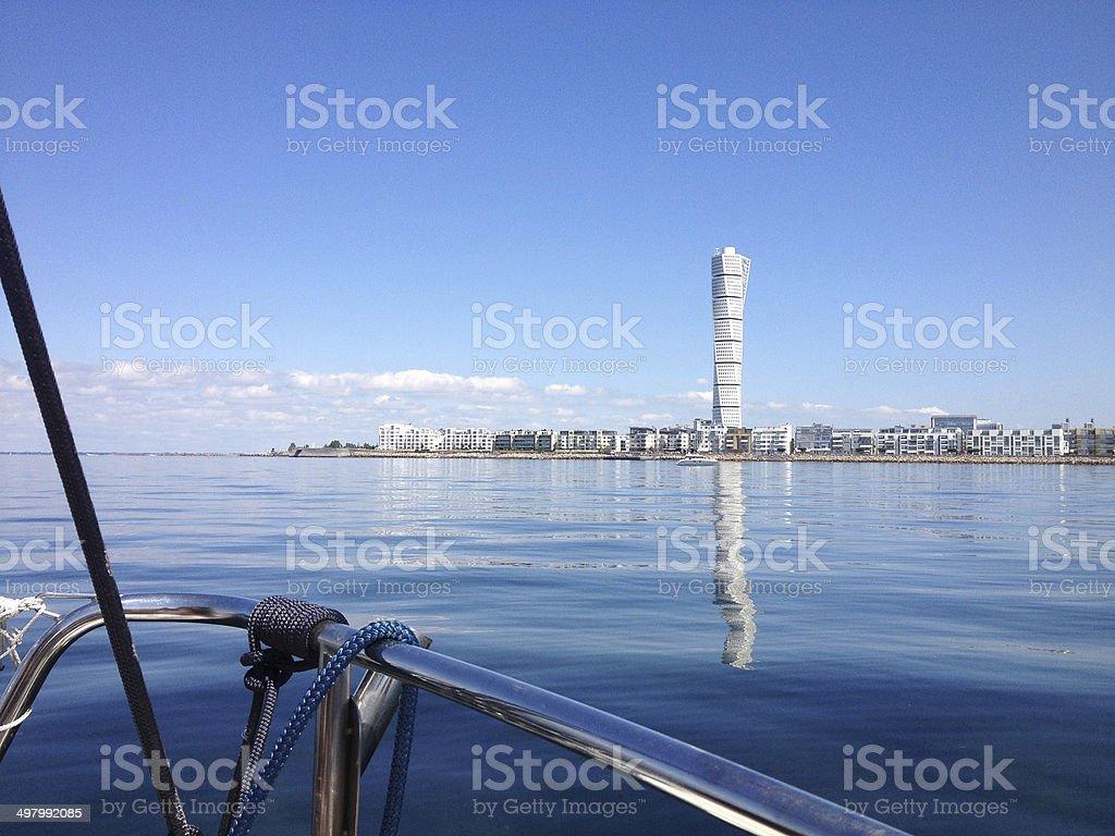 Vastra Hamnen reflections stock photo