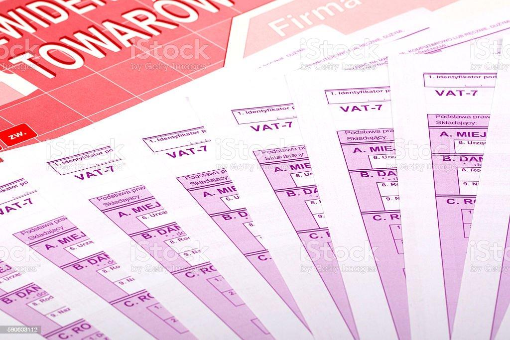 Vat tax - Polish documents stock photo