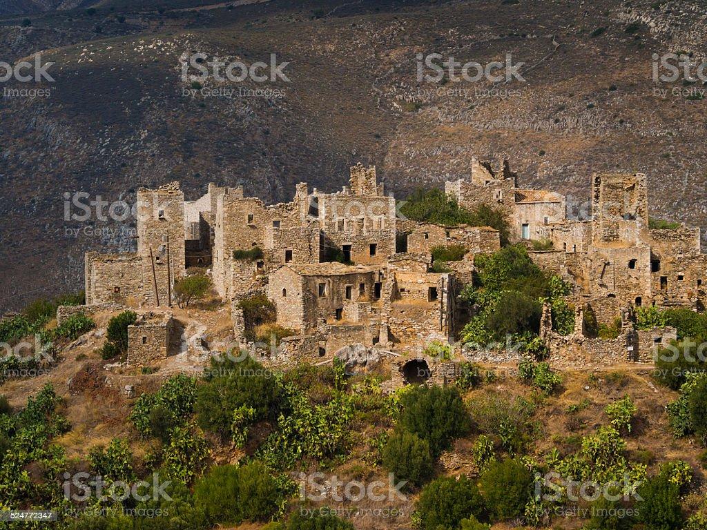 Vathia, abandoned village, Peloponnese, Greece stock photo