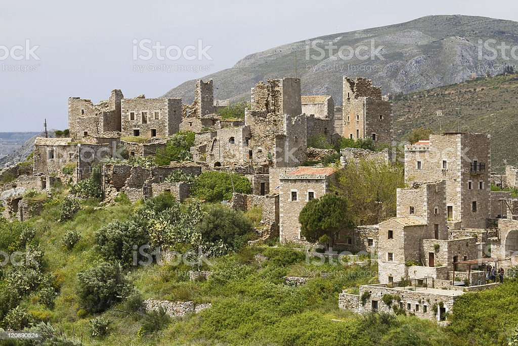 Vathia, Mani, Greece stock photo