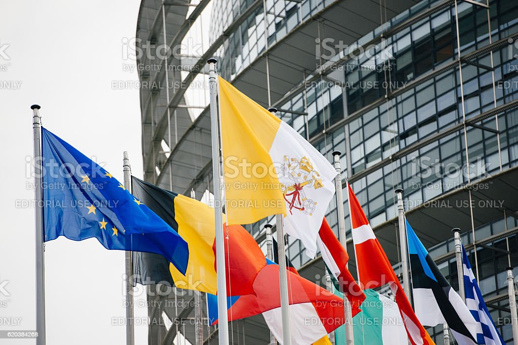 Vatican and all European Countries Flags stock photo