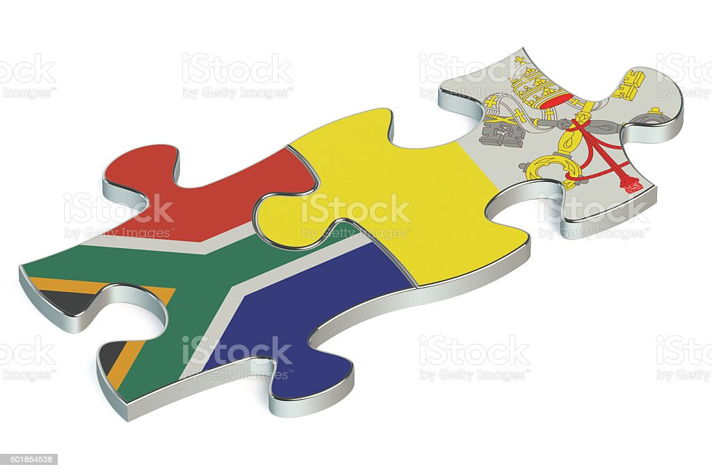 Vatican and South Africa puzzles from flags stock photo
