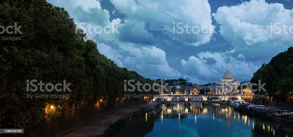 Vatican City at dawn beyond the Tiber river royalty-free stock photo