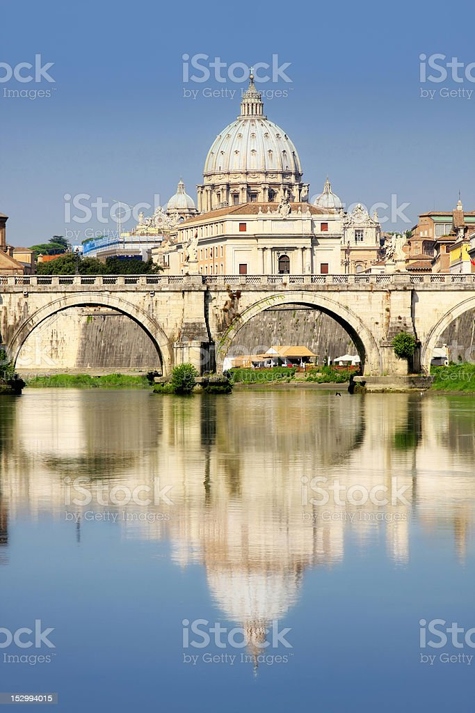 Vatican City from Ponte Umberto I in Rome, Italy royalty-free stock photo