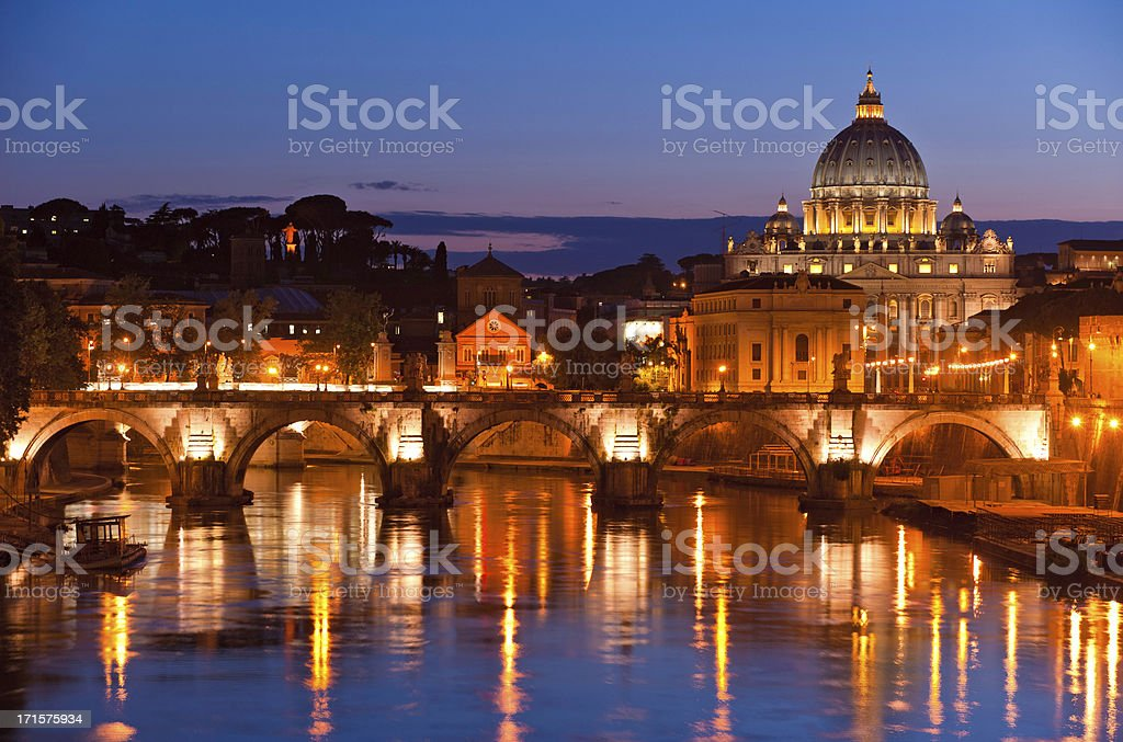 Vatican City sunset St Peter's Basilica River Tiber Rome Italy royalty-free stock photo