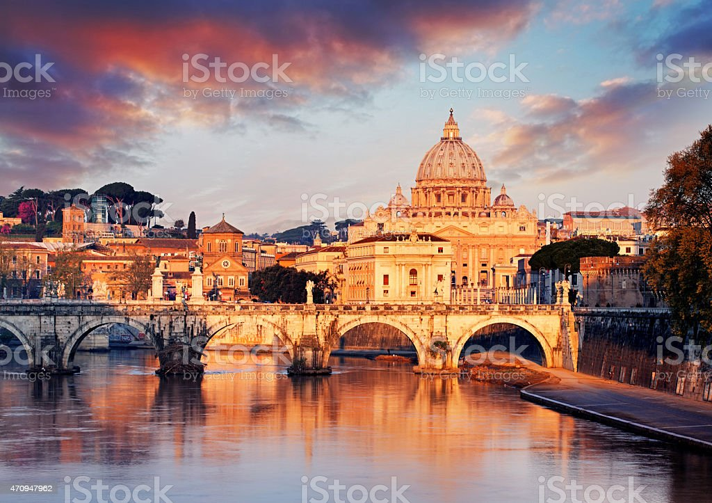 Vatican city with St. Peter's Basilica stock photo