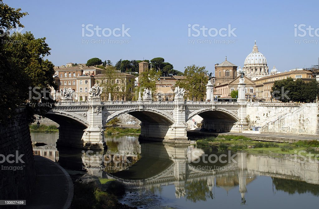 Vatican City,Rome. St Peter's, Tiber, Ponte Vittorio Emanuele royalty-free stock photo