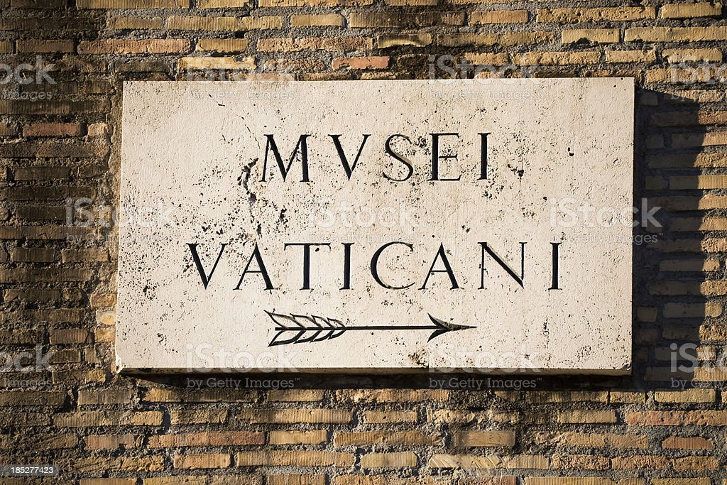 Vatican Museum Sign, Rome royalty-free stock photo