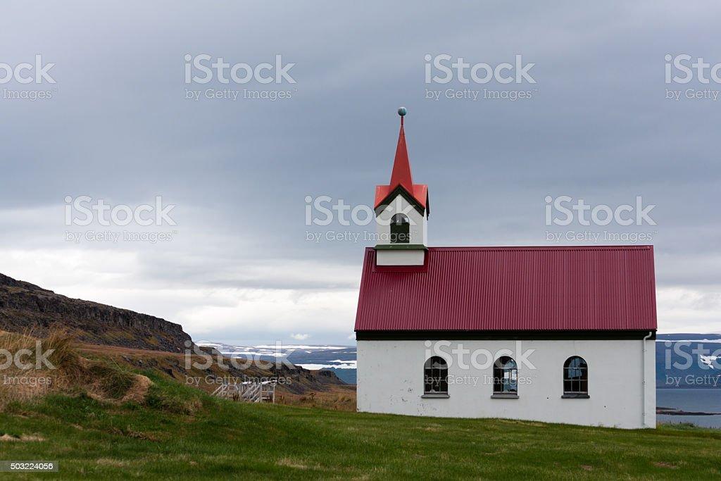 Vatnsfjardarkirkja, one of the many Icelandic churches. stock photo