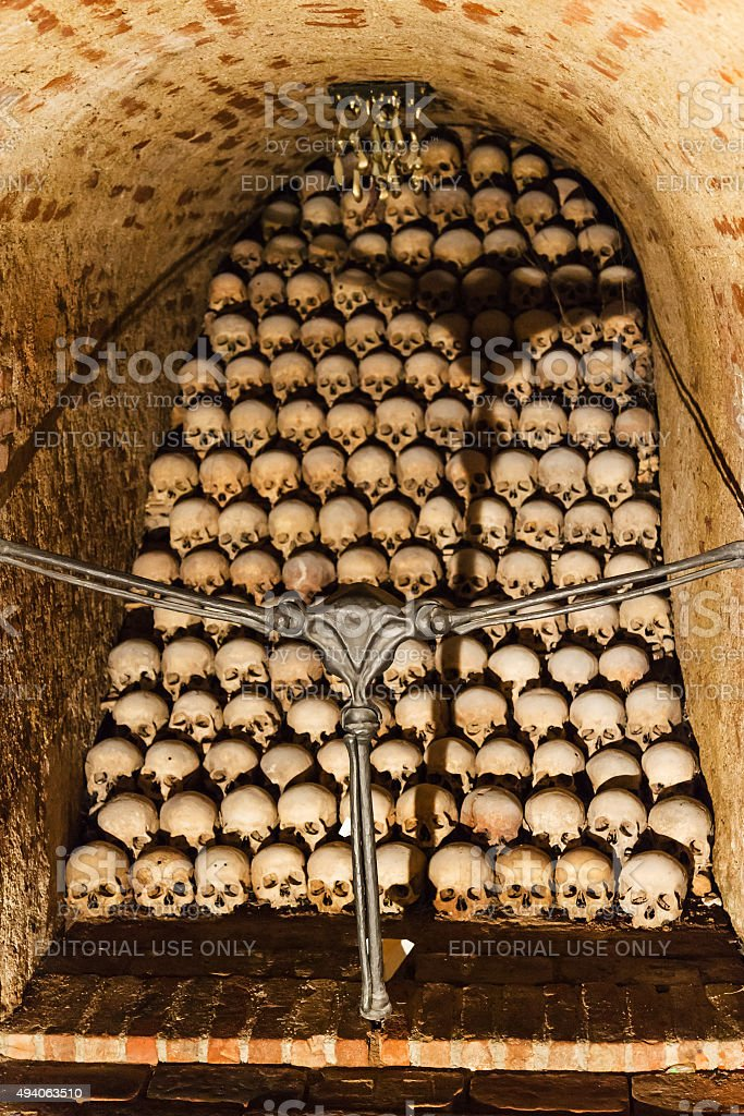 vault of the Ossuary of St James Church, Brno stock photo