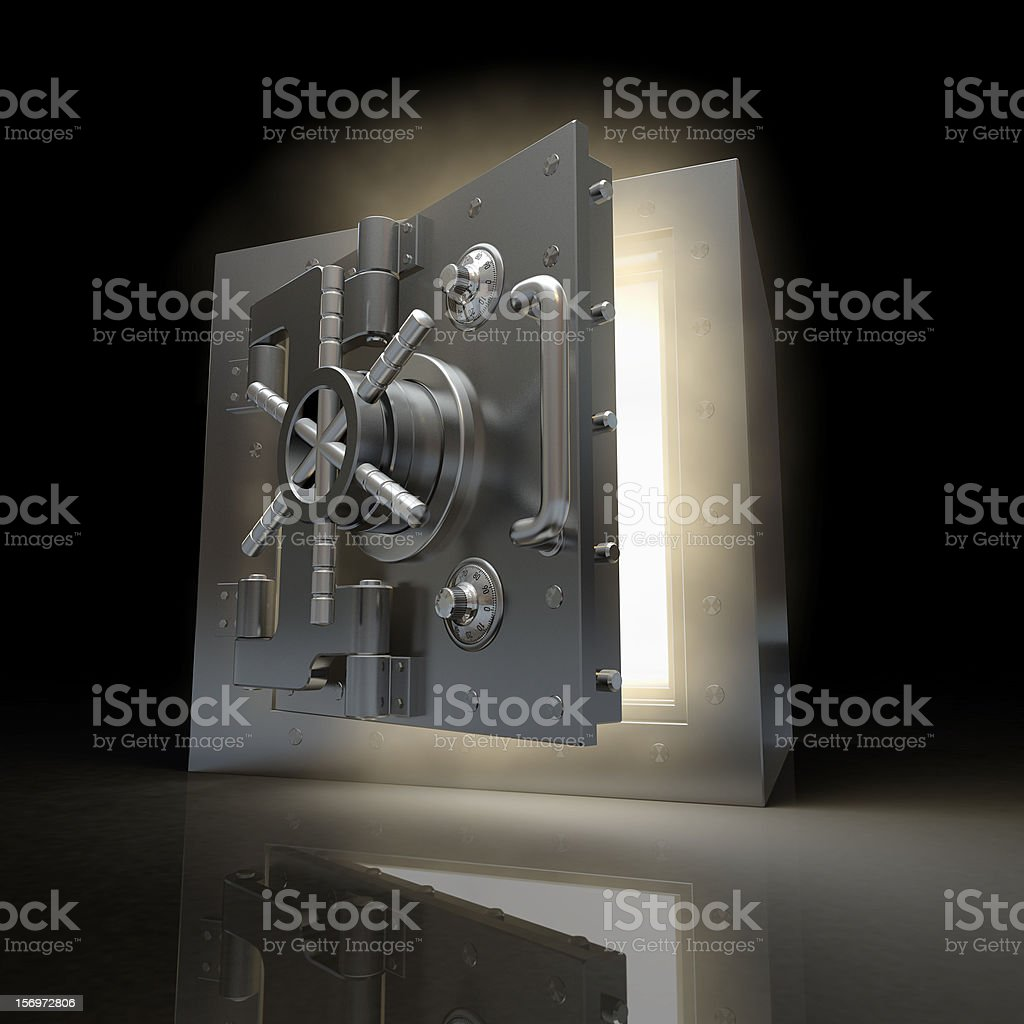 3D vault with door opening and light shining out stock photo
