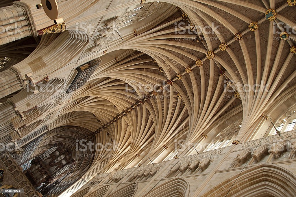 Vaulted ceiling, Exeter Cathedral stock photo