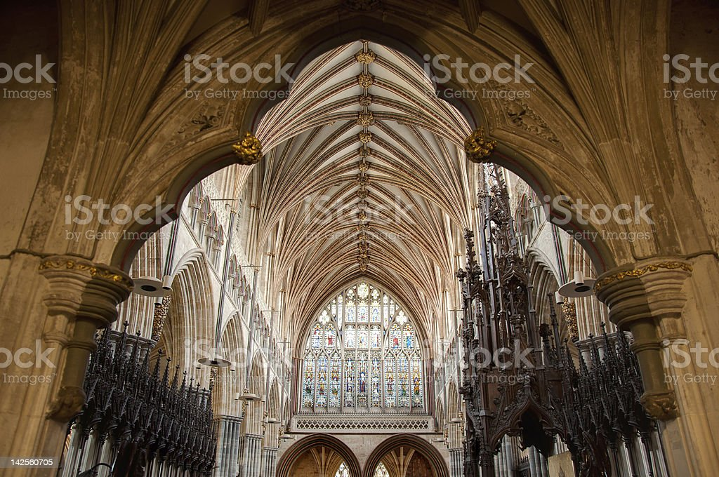 Vaulted ceiling in Exeter Cathedral, England stock photo