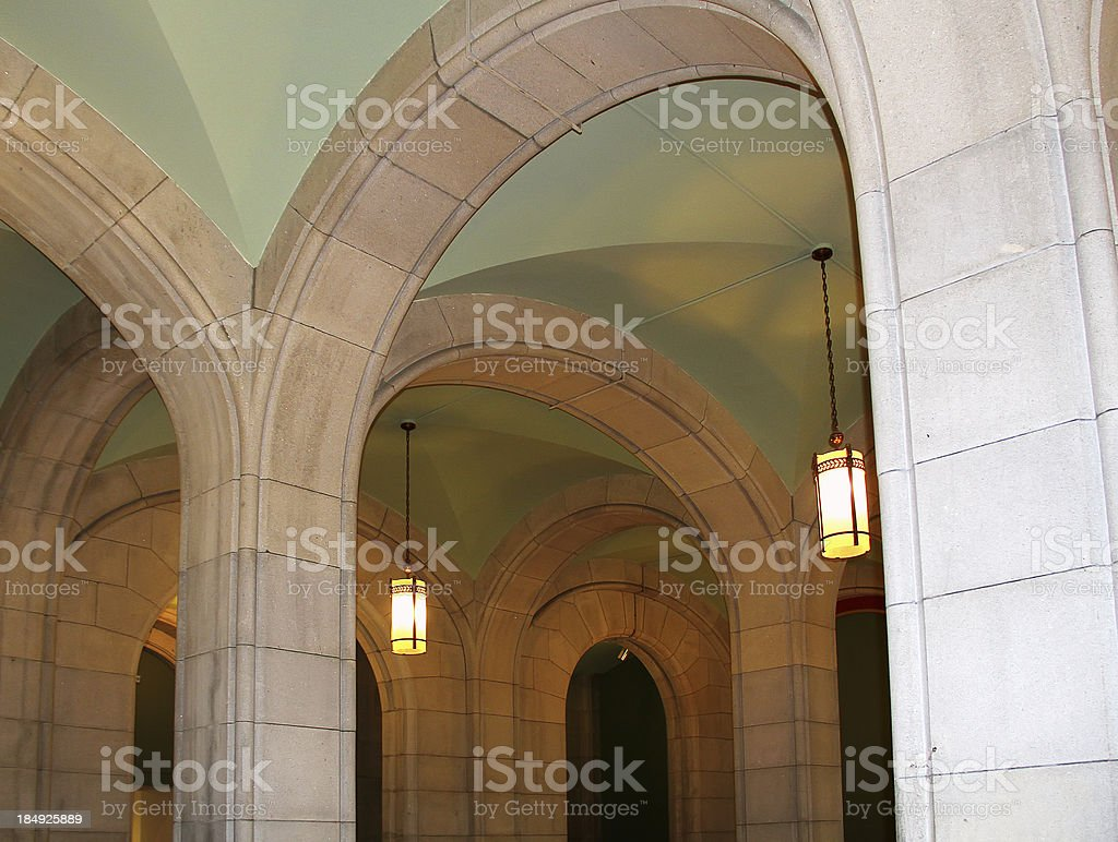 Vaulted Ceiling in New York State Capitol Building royalty-free stock photo