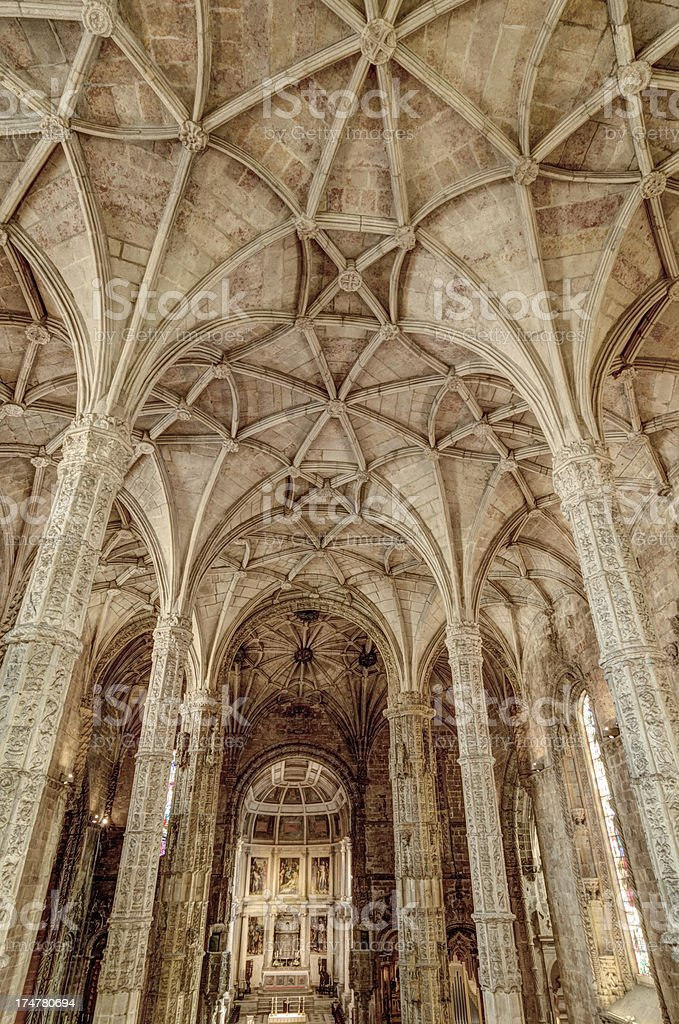 Vaulted ceiling of St. Jeromes Monastery, Lisbon, Portugal stock photo