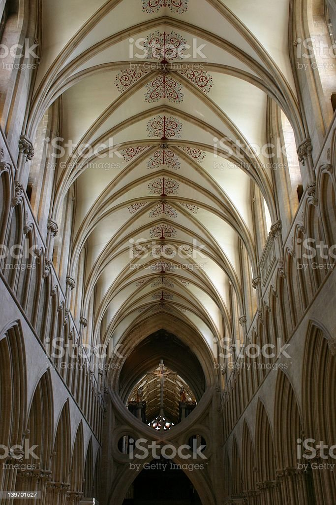 Vaulted Ceiling, Wells Cathedral royalty-free stock photo