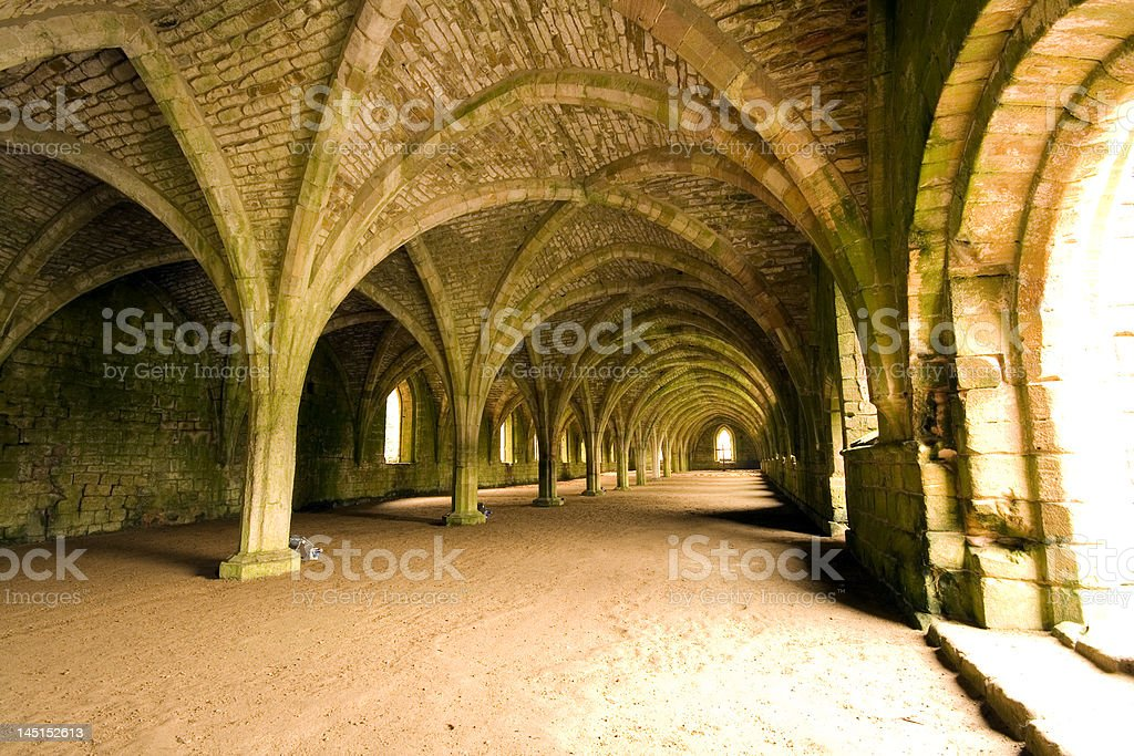 Vaulted ceilings at Fountains Abbey North Yorkshire stock photo
