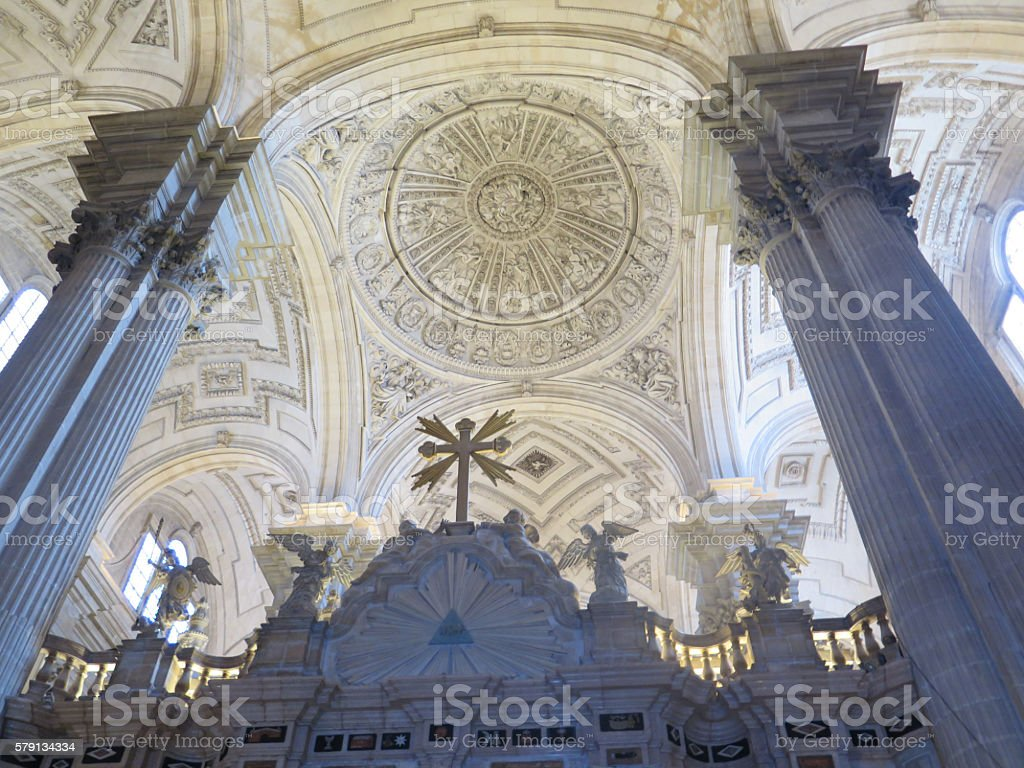 Vaulted Church roof stock photo