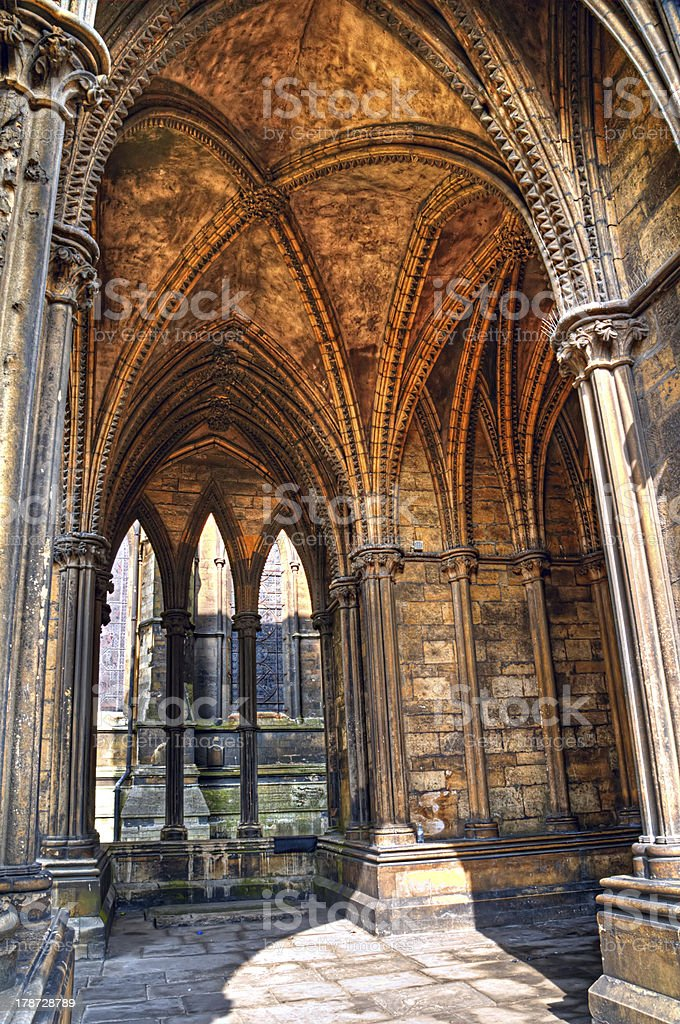 Vaulted cloister,  Lincoln Cathedral, England stock photo
