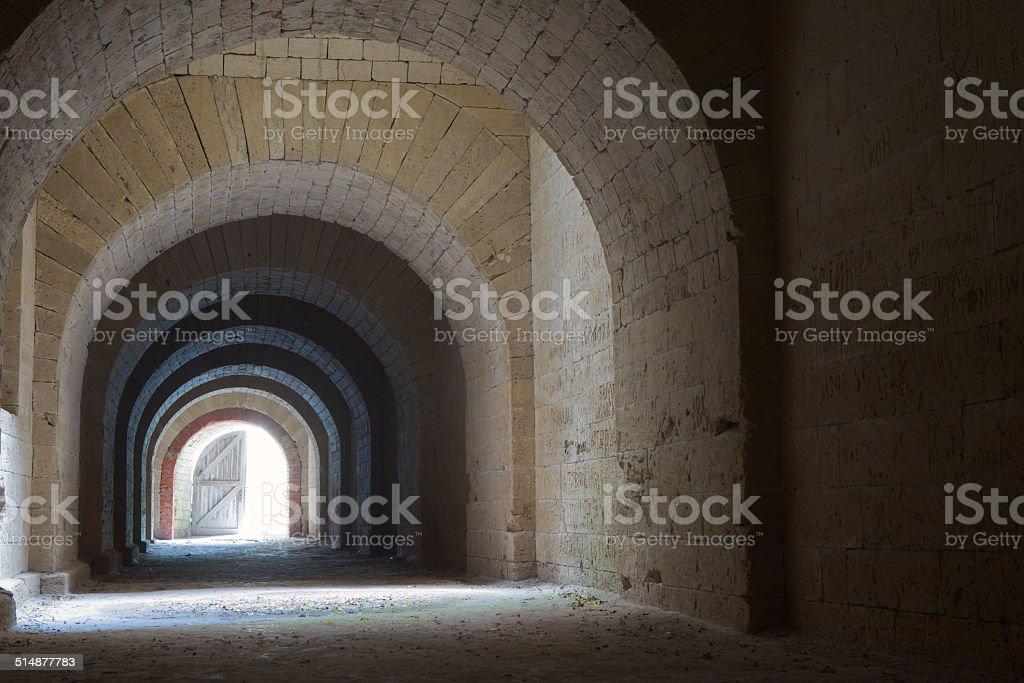 Vaulted corridor stock photo