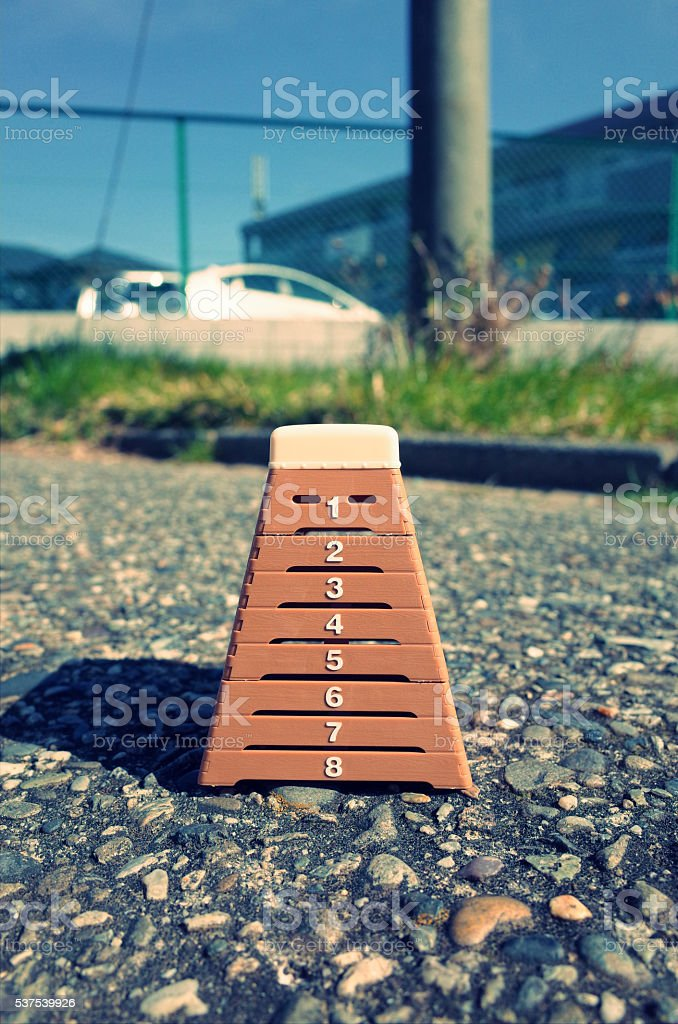 Vaulting box placed outdoor stock photo