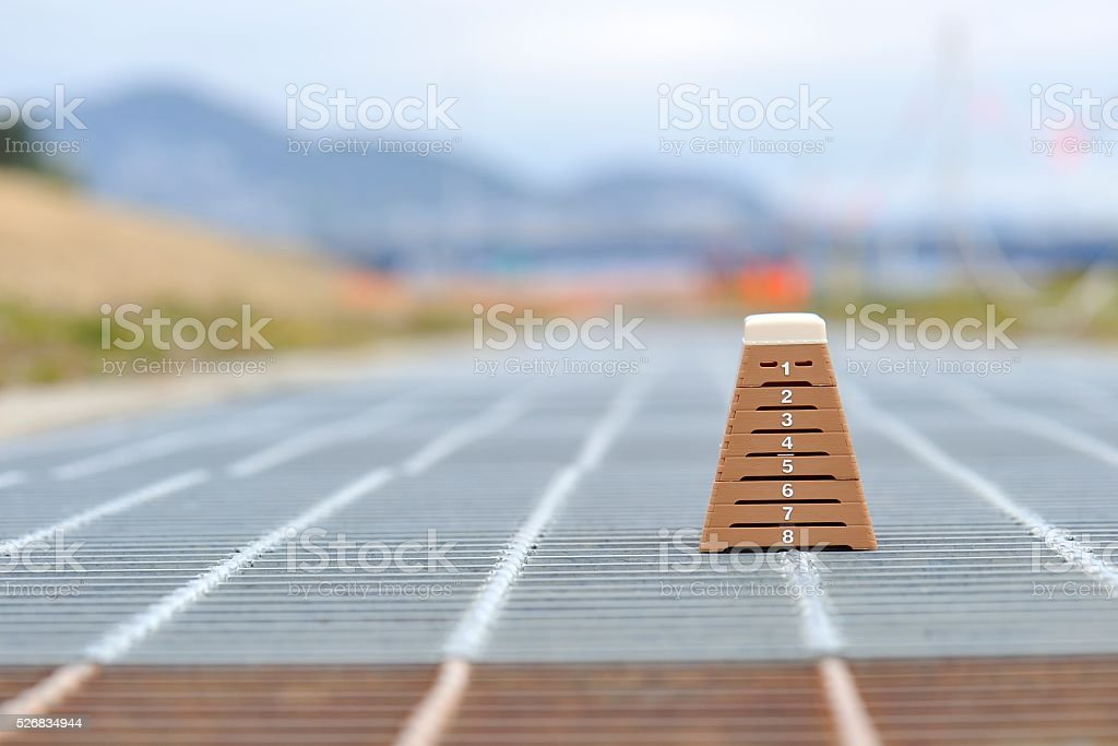 Vaulting horse was placed on the ground outdoors stock photo