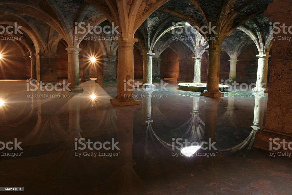 Vaults of cistern portugese in El Jadid, Morocco stock photo