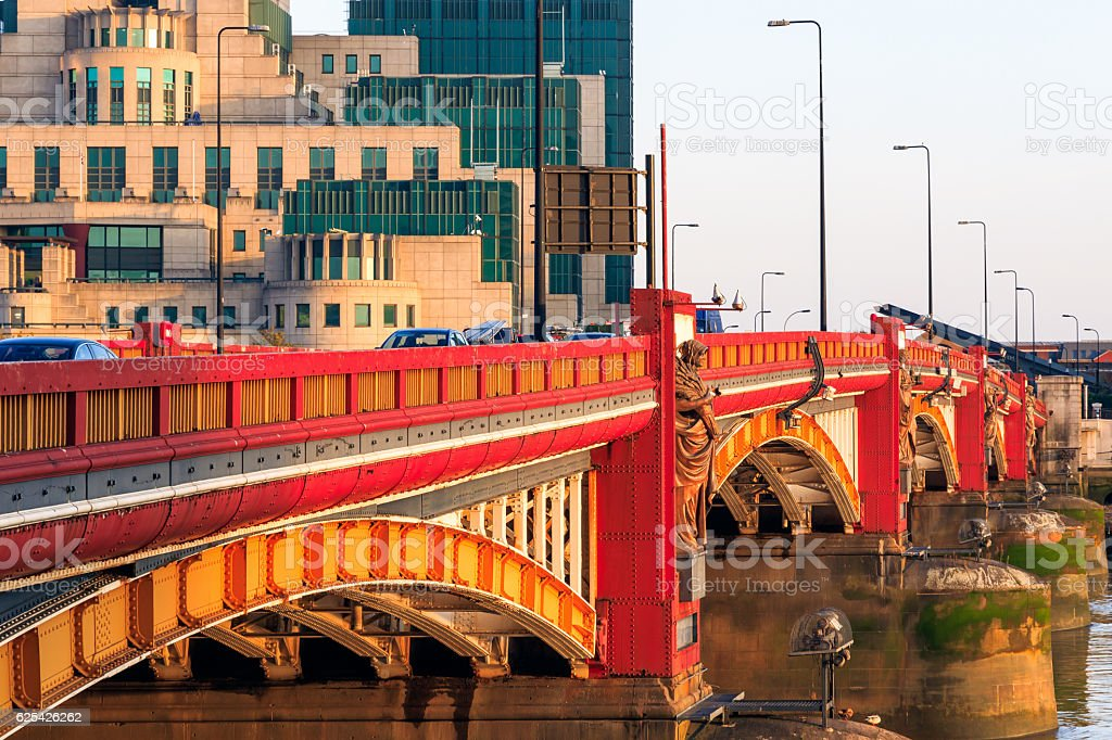 Vauxhall Bridge and Secret Intelligence Service Building stock photo