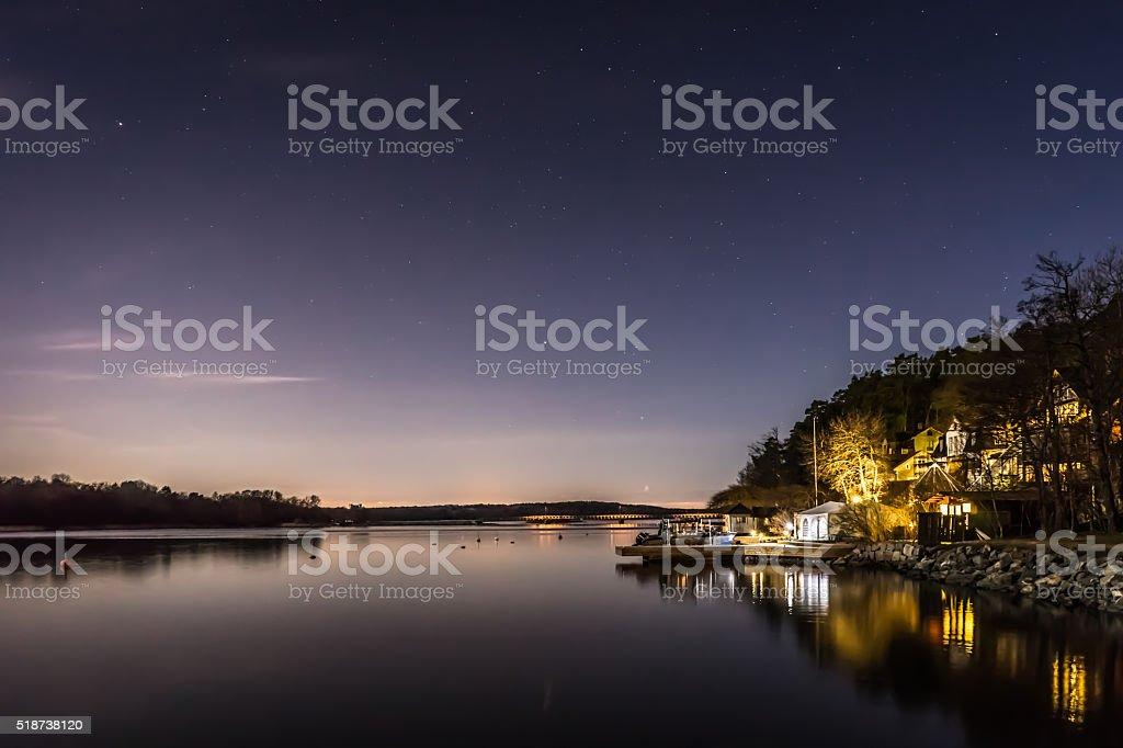 Vaxholm by night stock photo